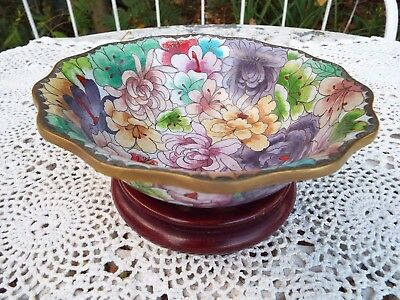 Vintage Chinese Cloisonné Bowl Flowers Inside & Out Scalloped Edge Wooden Stand