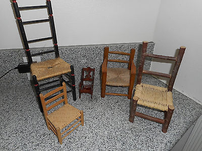 5 CHAIRS - Handmade Miniature/Small Wooden Chair Collection -- Vintage