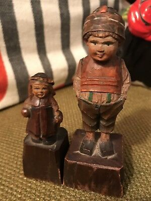 Antique Hand Carved Wood Figurine- Boy And Girl-German?Italian?
