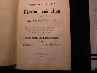 Extremely Rare 1874 Stoddard & Spencer's Directory and Map, Glens Falls, NY