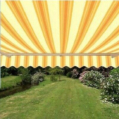 ALEKO Retractable Patio Awning 12 X 10 Ft Deck Sunshade Multistripe Yellow Color