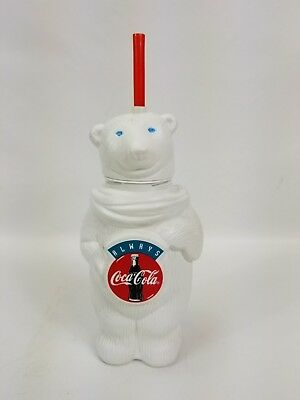 Collectible Coca Cola Polar Bear Plastic Water Bottle with Red Straw Vintage