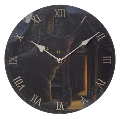 What Lies Within Wall Clock By Lisa Parker Gothic Wicca Pagan Black Cat