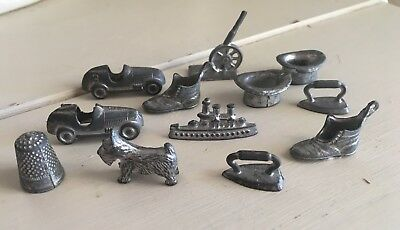 Vintage Lot 12 Old Metal Monopoly Game Pieces Shoe Scottie Ship Cannon Hat Iron