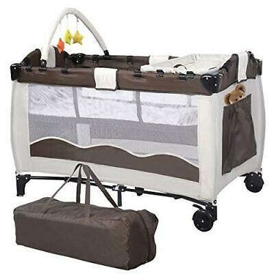 Costway Portable Infant Baby Travel Cot Bed Play Pen Child Bassinet Playpen 2in1