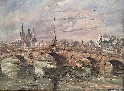 Pierre Moberg b 1911, Old French School Oil Painting River Landscape