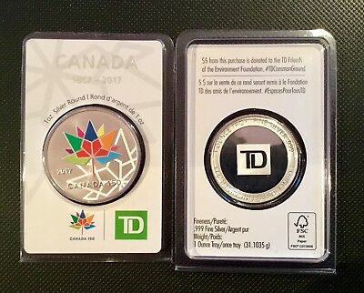 1 oz. TD Bank Canada's 150th birthday Silver Round