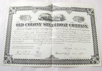 Old Colony Steamboat Company 1K Stock Certificate 1890