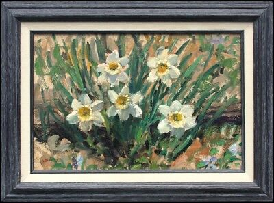 SUSAN GRISELL - Large Impressionist Painting of DAFFODILS Growing in a Garden
