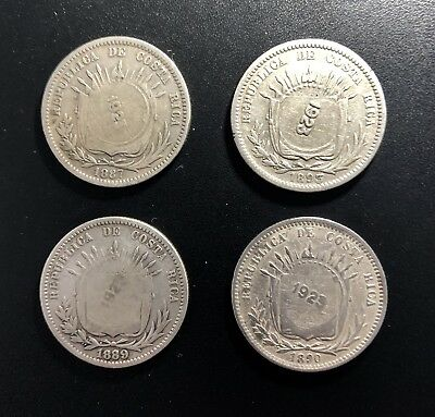 COSTA RICA Lot Of 4 (1923)  Counterstamped on 50 Centavos: Varying Host Years