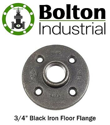 "3/4"" Black Malleable Iron Pipe Threaded Floor Flange Fittings Plumbing P6666 New"