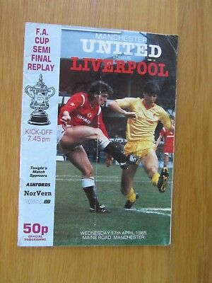MANCHESTER UNITED v LIVERPOOL FA CUP SEMI-FINAL REPLAY 17th April 1985@ MAINE RD
