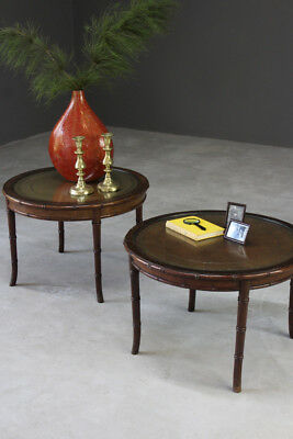 Pair Antique Style Round Coffee Side End Bedside Tables