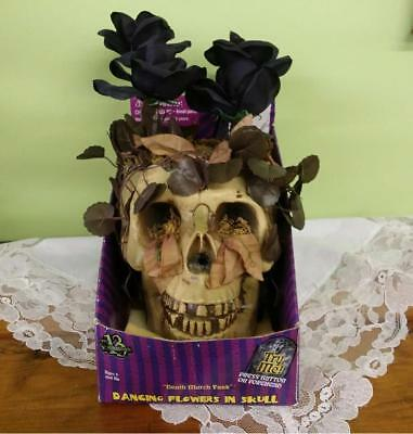 HTF Gemmy Motion Activated Dancing Flower Skull Plays Death March Tune Animated