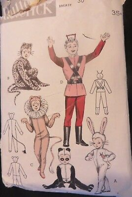 Vintage 1950s Pattern Butterick 6756 Animal Space Costume Complete Cut Breast 30
