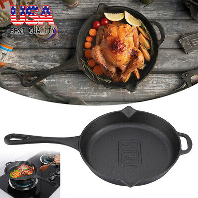 """Cast Iron Skillet 10.6"""" Oven Fry Pan Pre-Seasoned Cookware Cooking Stove Pot US"""