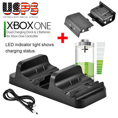 For XBOX ONE Dual Charging Dock Station Controller Charger+2Rechargeable Battery