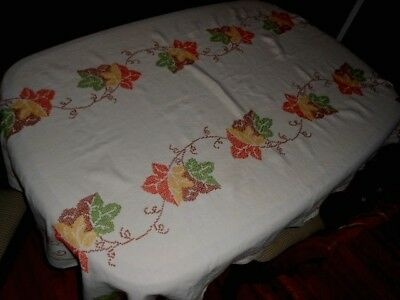 Vintage Embroidered Linen Tablecloth Cross Stitch Floral~Fall Colors! 48X63 NICE