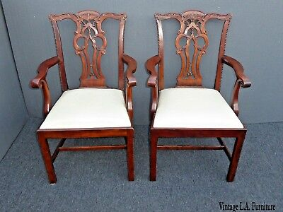 Pair Vintage Maitland Smith Chippendale Style Carved Accent Chairs