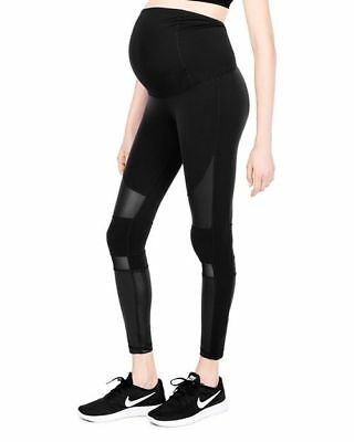 Isabel Maternity Womens Leggings XL Black Moto Active Crossover Panel Stretch