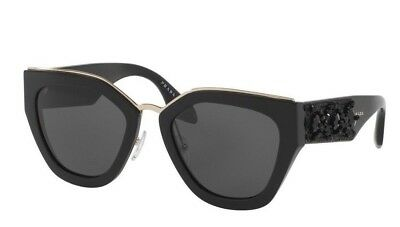 06ef97138a PRADA 52MM ORNATE Cat Eye Sunglasses PR 10TS  1090 NWT Black ...
