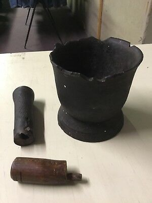 Vintage Antique Very Old Mortar And Pestle Cast Iron Masher
