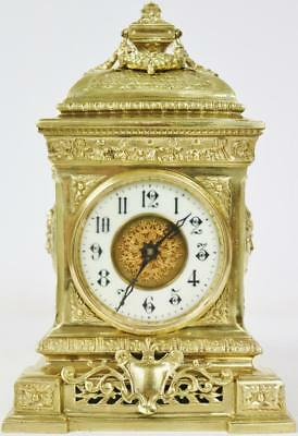 Beautiful Antique French 8 Day Pierced Solid Bronze Ormolu Cube Mantle Clock