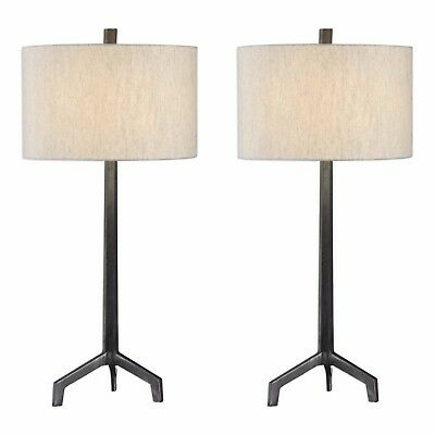 Pair Urban Industrial Textured Cast Iron Table Lamp Raw Steel Burnished Aging