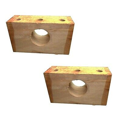 2 X GRAYS OAK ROLLER BEARING BLOCKS Wooden Pair Wax Dipped Made from UK Block