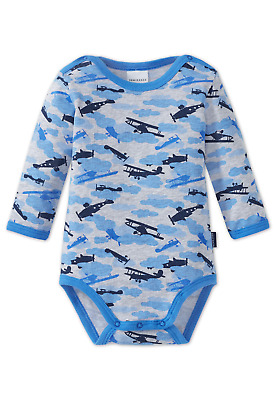 Schiesser Baby Bodysuit Long Sleeved Aircraft 74 80 86 92 98 104 Bodies Clouds