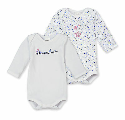 Schiesser Baby Body Astérisque Lot Double Gr 56-104 Organes Manches Longues 100%