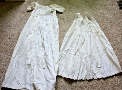 Antique Victorian Christening Gown 2 Pieces Off White Lace Hand Made Dress Baby