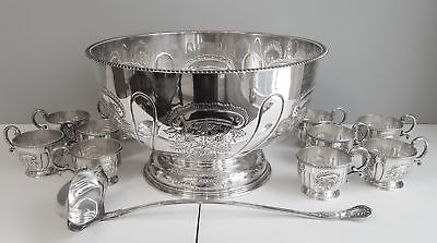 Remarkable English Punch Bowl Set Hand Chased Sheffield Silver William Adams