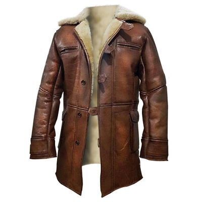 Homme Tom Hardy Dark Knight Rises Raf Peau D'Agneau Authentique Shearling Cuir