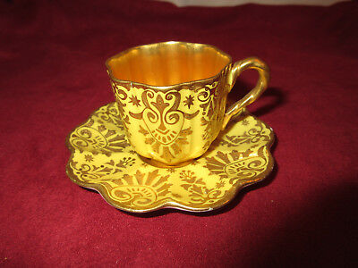 Antique Coalport Demitasse Cup and Saucer Set C1891 Yellow and Gold
