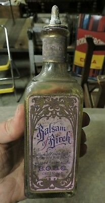 Antique Balsam of Birch Greenville, PA. Hair Tonic Bottle, Old, (VAE)