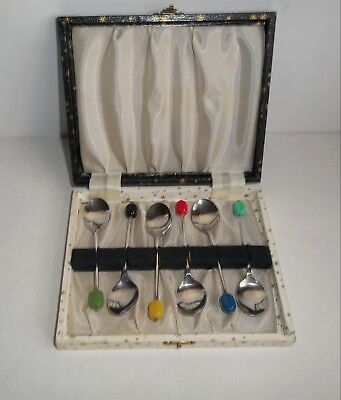 Vintage Boxed Set Of Six Silver Plated Coffee Bean Spoons