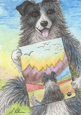 Border Collie dog orig ACEO painting sheepdog by Susan Alison colouring picture