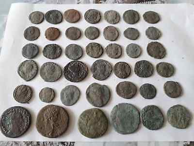Lot Of 42 Ancient Roman Coins For Cleaned