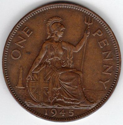 1945 One Penny King George VI Extremely Fine condition