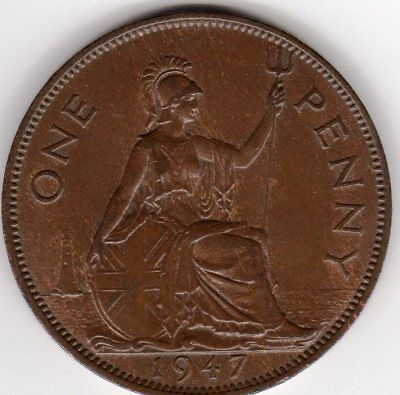 1947 One Penny King George VI Good Extremely Fine condition. Traces of luster