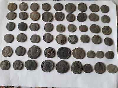 Lot Of 54 Ancient Roman Coins For Cleaned