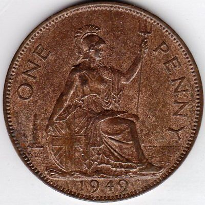 1949 One Penny King George VI Good Extremely Fine with 50% Mint Luster