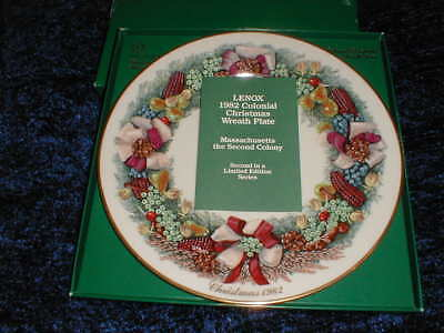 Massachusetts Lenox 1982 Christmas Wreath With BOX & Literature Limited Ed