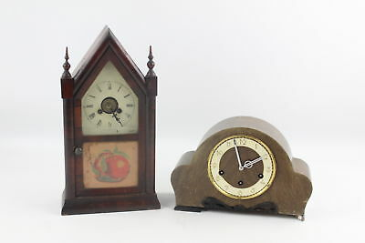 2 x Antique / Vintage MANTEL CLOCKS Wood Cased Key-Wind Inc. American Style
