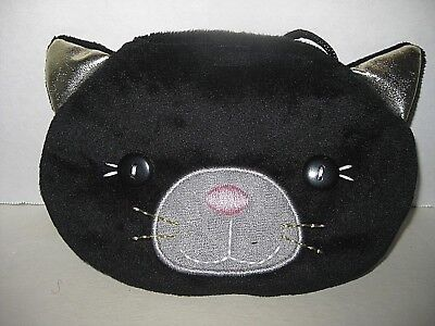 Black Kitty Cat Coin Cellphone Purse, Soft Plush Material Shoulder Strap, Coins