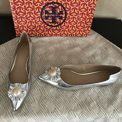 69a63e1d0f5798 Tory Burch  Melody  Metallic Silver Mirror Pearl Leather Ruffle Flats 7.5 US