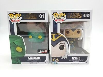 Funko Pop! League of the Legends Amumu Gamestop Exclusive 01 & Ashe 02 NIB