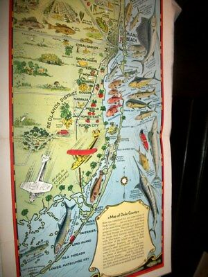 Vintage 1930's Souvenir Map of Dade County Florida with Hotels on the Back