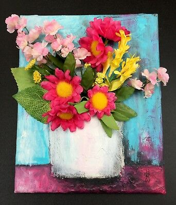 Original 8 x 10 Inch Painting 3D Floral Pink Blue Acrylic on Canvas